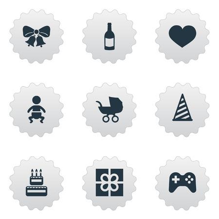 簡単な誕生日アイコンのベクター イラスト セット。要素飲料、菓子類、幼児および他の類義語ケーキ ジョイスティックや感情。