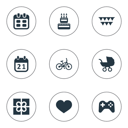 Vector Illustration Set Of Simple Holiday Icons. Elements Special Day, Baby Carriage, Confectionery And Other Synonyms Date, Confectionery And Feelings. Ilustração