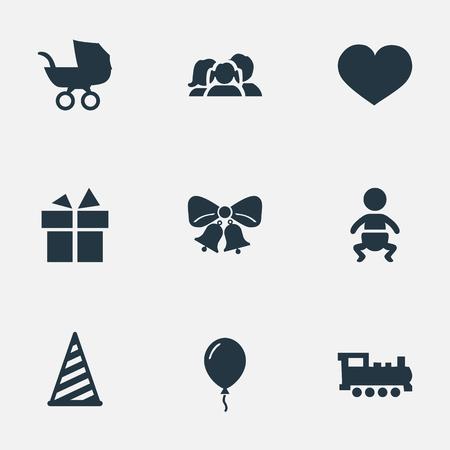 벡터 일러스트 레이 션 간단한 휴일 아이콘의 집합입니다. 유아, Aerostat, 아기 캐리지 및 기타 동의어 선물, 캐리지 및 국내 요소. 일러스트