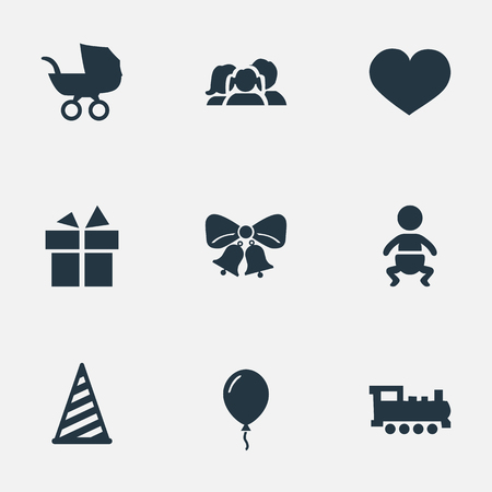 Vector Illustration Set Of Simple Holiday Icons. Elements Infant, Aerostat, Baby Carriage And Other Synonyms Gift, Carriage And Domestic. Ilustração