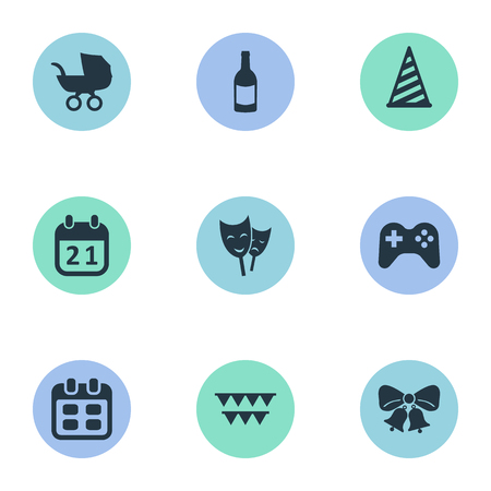 Vector Illustration Set Of Simple Celebration Icons. Elements Decorations;, Game, Beverage And Other Synonyms Game, Decorations And Theater.
