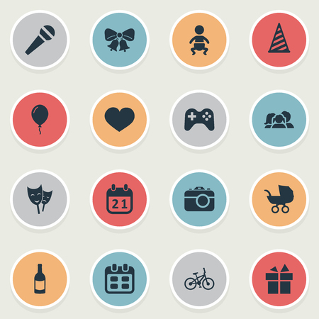 Vector Illustration Set Of Simple Celebration Icons. Elements Resonate, Game, Aerostat And Other Synonyms Sport, Balloon And Feelings.