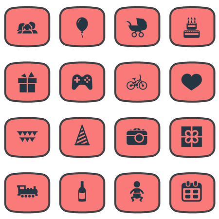 Vector Illustration Set Of Simple Holiday Icons. Elements Game, Ribbon, Box And Other Synonyms Party, Present And Balloon.