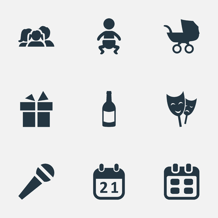 Vectorillustratiereeks Eenvoudige Vieringspictogrammen. Elements Infant, Special Day, Domestic And Other Synoniemen Mask, Microphone And Champagne. Stock Illustratie