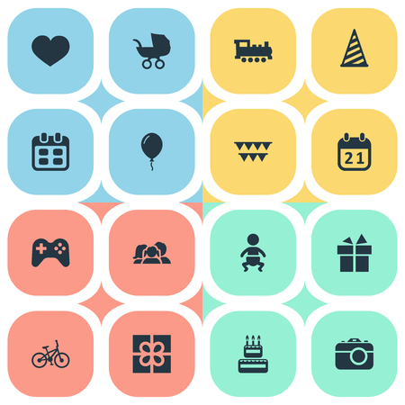 Vector Illustration Set Of Simple Holiday Icons. Elements Soul, Ribbon, Game And Other Synonyms Carriage, Confectionery And Joystick.
