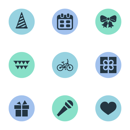 Vector Illustration Set Of Simple Holiday Icons. Elements Resonate, Soul, Cap And Other Synonyms Speech, Voice And Party.