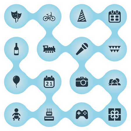 Vector Illustration Set Of Simple Celebration Icons. Elements Bicycle, Speech, Game And Other Synonyms Flags, History And Hat.