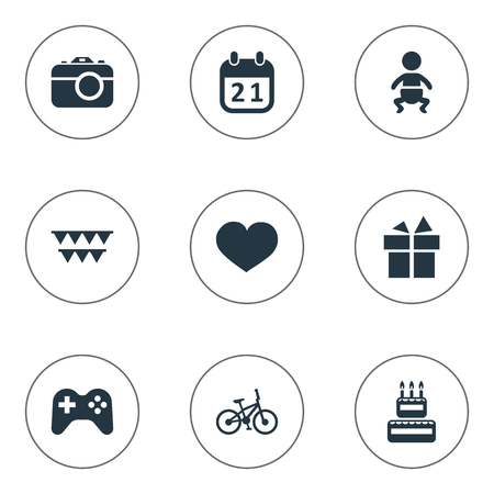 christmas cake: Vector Illustration Set Of Simple Celebration Icons. Elements Special Day, Bicycle, Decorations; And Other Synonyms History, Baby And Bike.