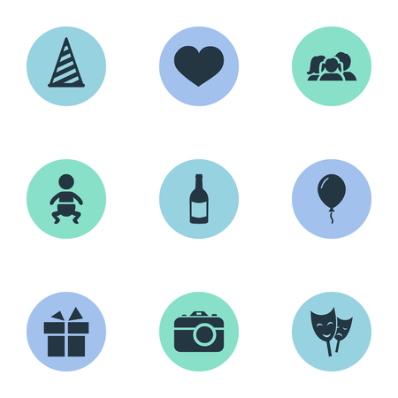 Vector Illustration Set Of Simple Birthday Icons. Elements Infant, Ribbon, Beverage And Other Synonyms Soul, Champagne And Gift. Illustration
