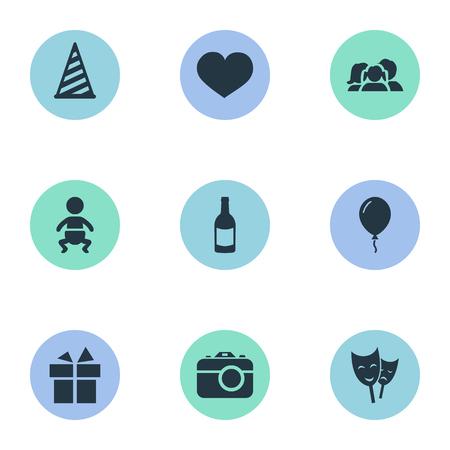 Vector illustratie Set van eenvoudige verjaardag iconen. Elements Infant, Ribbon, Beverage And Other Synoniemen Soul, Champagne en Gift.