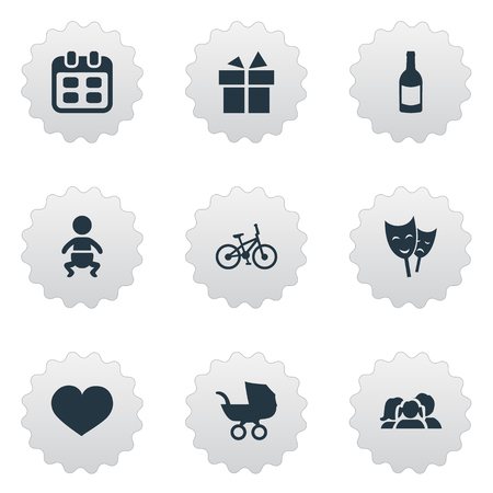 Vector Illustration Set Of Simple Birthday Icons. Elements Bicycle, Infant, Domestic And Other Synonyms Theater, Carriage And Champagne.