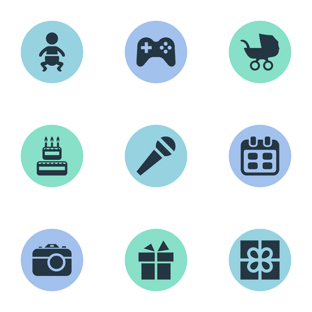 Vector Illustration Set Of Simple Birthday Icons. Elements Infant, Box, Camera And Other Synonyms Joystick, Days And Schedule. Stock Vector - 77923620