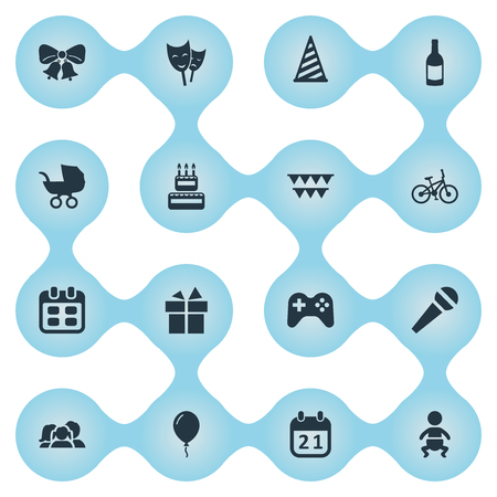 Vector Illustration Set Of Simple Celebration Icons. Elements Special Day, Infant, Cap And Other Synonyms Balloon, Resonate And Microphone.