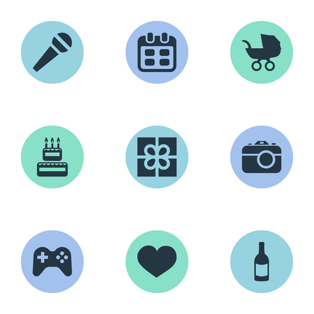 Vector Illustration Set Of Simple Birthday Icons. Elements Days, Camera, Confectionery And Other Synonyms Sweetmeat, image And Soul. Illustration