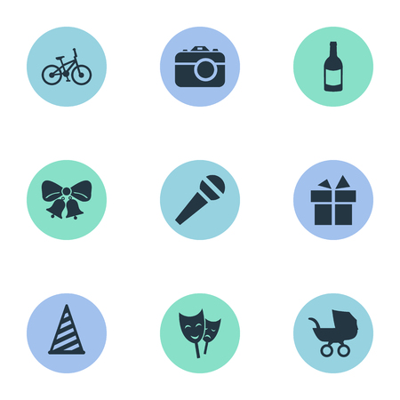 Vector Illustration Set Of Simple Celebration Icons. Elements Resonate, Bicycle, Speech And Other Synonyms Prize, Hat And Gift. Ilustração
