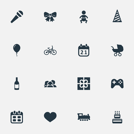 Vector Illustration Set Of Simple Birthday Icons. Elements Aerostat, Resonate, Infant And Other Synonyms Bells, Steam And Sport.