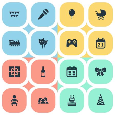 簡単な誕生日アイコンのベクター イラスト セット。要素の菓子、幼児、装飾;他の同義語とフィズ、ジョイスティック、ボックス。  イラスト・ベクター素材