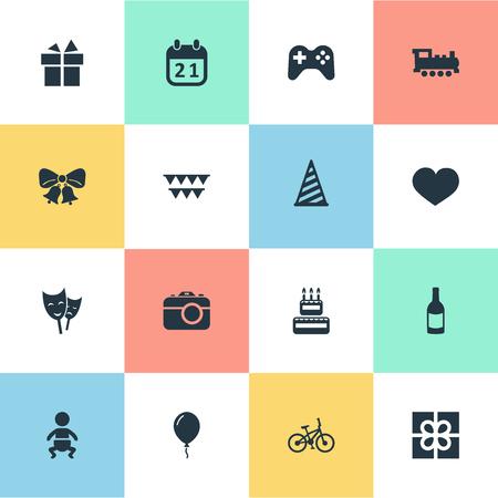 単純な休日のアイコンのベクトル イラスト セット。要素マスク、共鳴、ボックスおよび類義語の他の菓子類、自転車し、ジングルします。