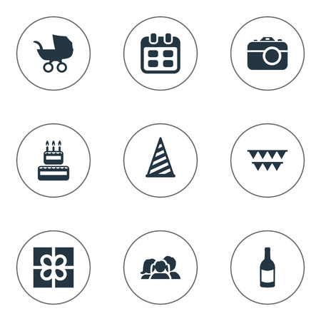 Illustration Set Of Simple Celebration Icons. Elements Decorations;, Days, Cap And Other Synonyms Confectionery, People And Photography.