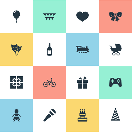 Vector Illustration Set Of Simple Holiday Icons. Elements Beverage, Train, Soul And Other Synonyms Ribbon, Microphone And Voice.