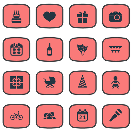 Vector Illustration Set Of Simple Birthday Icons. Elements Mask, Beverage, Baby Carriage And Other Synonyms Soul, Days And Calendar. Stok Fotoğraf - 77931289