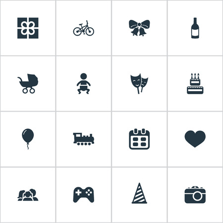 Vector Illustration Set Of Simple Birthday Icons. Elements Baby Carriage, Days, Confectionery And Other Synonyms Hat, Party And Resonate. Illustration