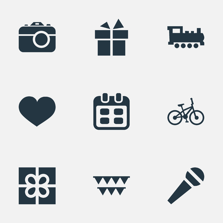 Vector Illustration Set Of Simple Celebration Icons. Elements Soul, Ribbon, Bicycle And Other Synonyms Feelings, Decorations And Speech. Illustration