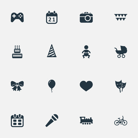 Vector Illustration Set Of Simple Celebration Icons. Elements Infant, Train, Soul And Other Synonyms Soul, Feelings And Sweetmeat.