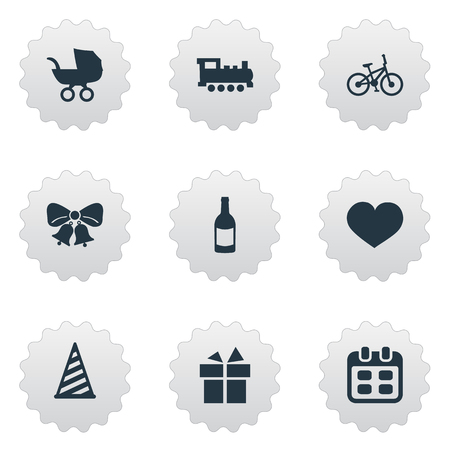 A Vector Illustration Set Of Simple Birthday Icons. Elements Bicycle, Soul, Ribbon And Other Synonyms Train, Feelings And Soul.