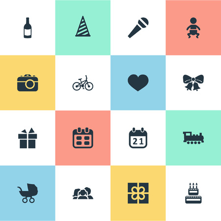 Vector Illustration Set Of Simple Holiday Icons. Elements Resonate, Domestic, Camera And Other Synonyms Day, Ribbon And Schedule.