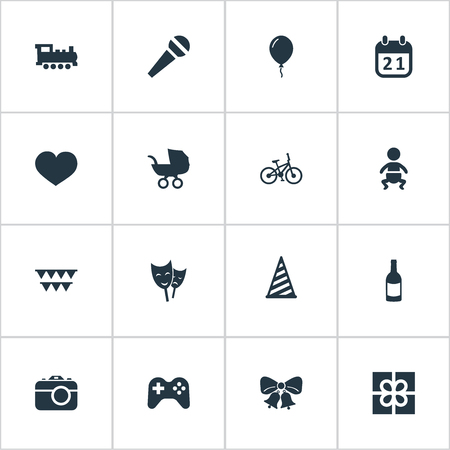 Vector Illustration Set Of Simple Holiday Icons. Elements Beverage, Infant, Soul And Other Synonyms Photo, Beverage And Steam.