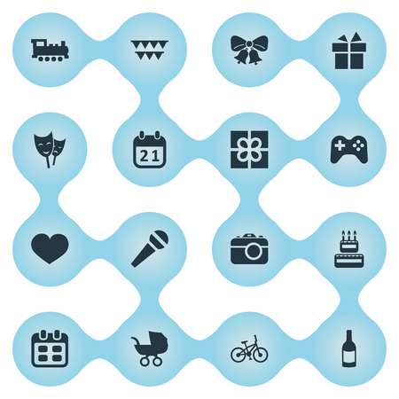 Vector Illustration Set Of Simple Birthday Icons. Elements Box, Bicycle, Special Day And Other Synonyms Bells, Photography And Soul. Illustration