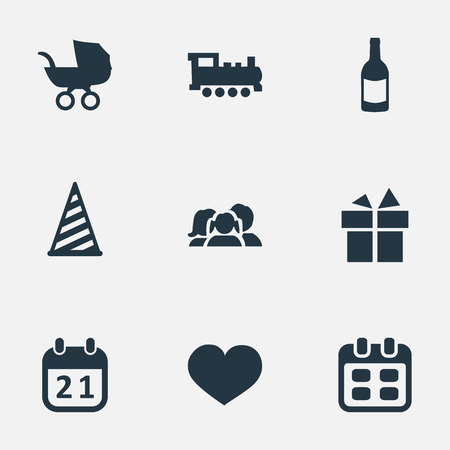 A Vector Illustration Set Of Simple Birthday Icons. Elements Baby Carriage, Train, Ribbon And Other Synonyms Heart, Beverage And Fizz. Illustration