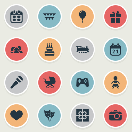 Vector Illustration Set Of Simple Holiday Icons. Elements Confectionery, Soul, Box And Other Synonyms Cake, Aerostat And Flags.