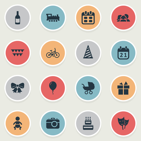 Vector Illustration Set Of Simple Holiday Icons. Elements Ribbon, Infant, Aerostat And Other Synonyms Carriage, Sweetmeat And Photo.