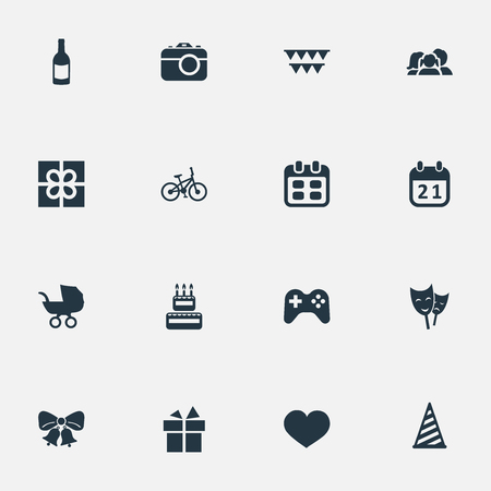 Vector illustratie Set van eenvoudige verjaardag iconen. Elementen speciale dag, zoetwaren, ziel en andere synoniemen Jingle, Fizz en Box.