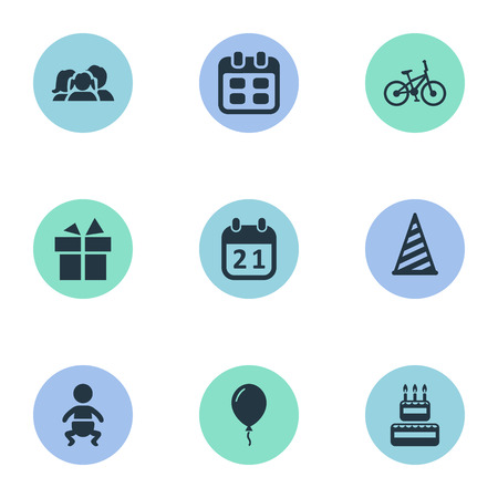Vector Illustration Set Of Simple Birthday Icons. Elements Confectionery, Cap, Bicycle And Other Synonyms Days, Infant And Aerostat.