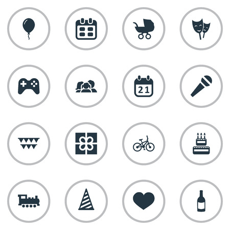 Vector Illustration Set Of Simple Birthday Icons. Elements Special Day, Speech, Aerostat And Other Synonyms Bike, Calendar And Family.