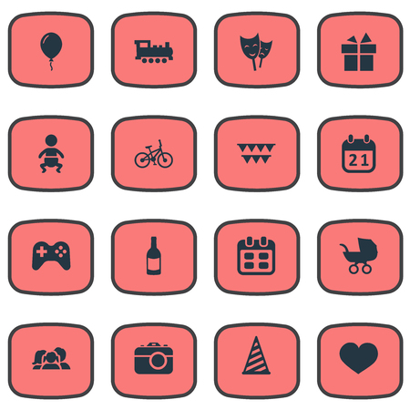 Vector Illustration Set Of Simple Holiday Icons. Elements Camera, Soul, Days And Other Synonyms Bicycle, Photo And Steam.