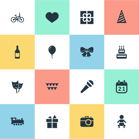 Vector Illustration Set Of Simple Celebration Icons. Elements Camera, Confectionery, Cap And Other Synonyms Photography, Kid And Ribbon. Illustration