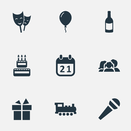 Vector Illustration Set Of Simple Birthday Icons. Elements Aerostat, Special Day, Mask And Other Synonyms Gift, History And Confectionery.