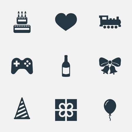 Vector Illustration Set Of Simple Holiday Icons. Elements Confectionery, Beverage, Cap And Other Synonyms Joystick, Steam And Balloon.