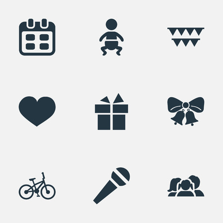 Vector Illustration Set Of Simple Celebration Icons. Elements Infant, Decorations;, Resonate And Other Synonyms Schedule, Bells And Flags.