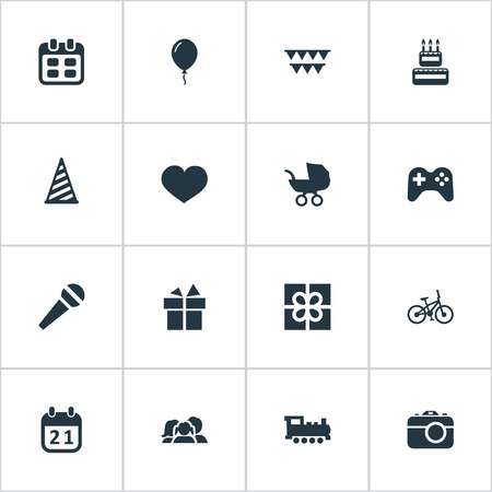 Vector Illustration Set Of Simple Holiday Icons. Elements Confectionery, Days, Domestic And Other Synonyms Balloon, Locomotive And Bike.