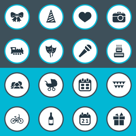 chronology: Vector Illustration Set Of Simple Birthday Icons. Elements Cap, Beverage, Special Day And Other Synonyms Speech, Carriage And Family.