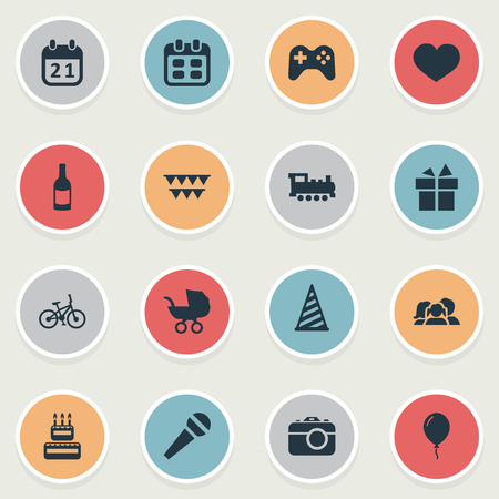 Vector Illustration Set Of Simple Celebration Icons. Elements Days, Special Day, Soul And Other Synonyms Domestic, Carriage And Heart.