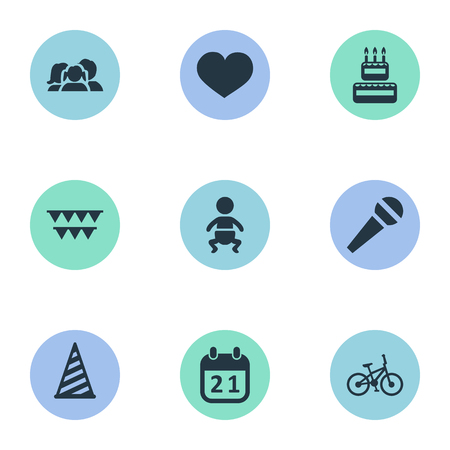 Vector Illustration Set Of Simple Holiday Icons. Elements Bicycle, Confectionery, Domestic And Other Synonyms Cake, Baby And Flags. Ilustração