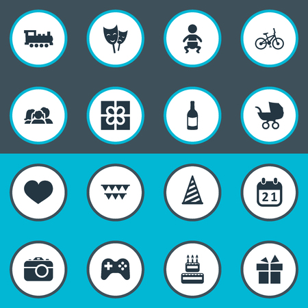 Vector Illustration Set Of Simple Celebration Icons. Elements Mask, Box, Special Day And Other Synonyms Ribbon, Theater And Soul.