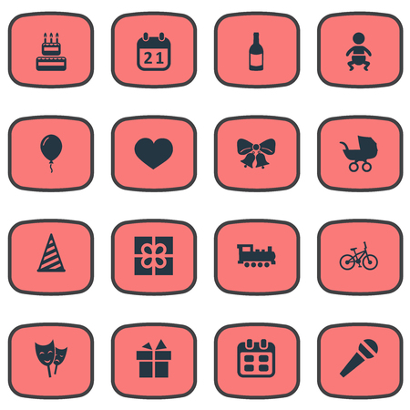 Vector Illustration Set Of Simple Celebration Icons. Elements Resonate, Baby Carriage, Box And Other Synonyms Microphone, Carriage And Heart. Illustration