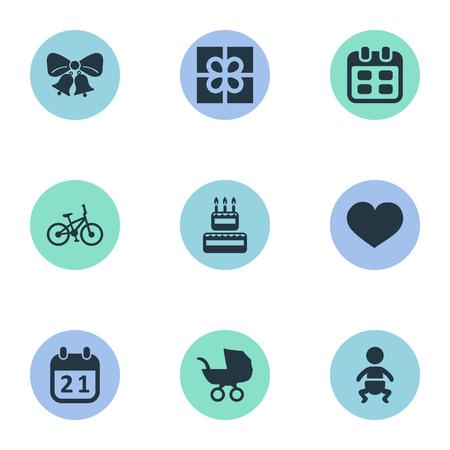 벡터 일러스트 레이 션 간단한 축 하 아이콘의 집합입니다. 요소 아기 캐리지, 스페셜 데이, 영혼 및 기타 동의어 케이크, 자전거 및 아기.